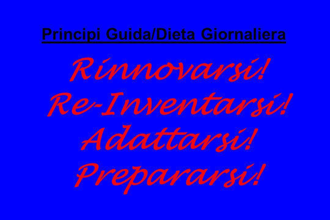 Principi Guida/Dieta Giornaliera Rinnovarsi. Re-Inventarsi. Adattarsi