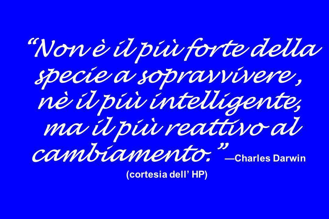 Non è il più forte della specie a sopravvivere , nè il più intelligente, ma il più reattivo al cambiamento. —Charles Darwin (cortesia dell' HP)