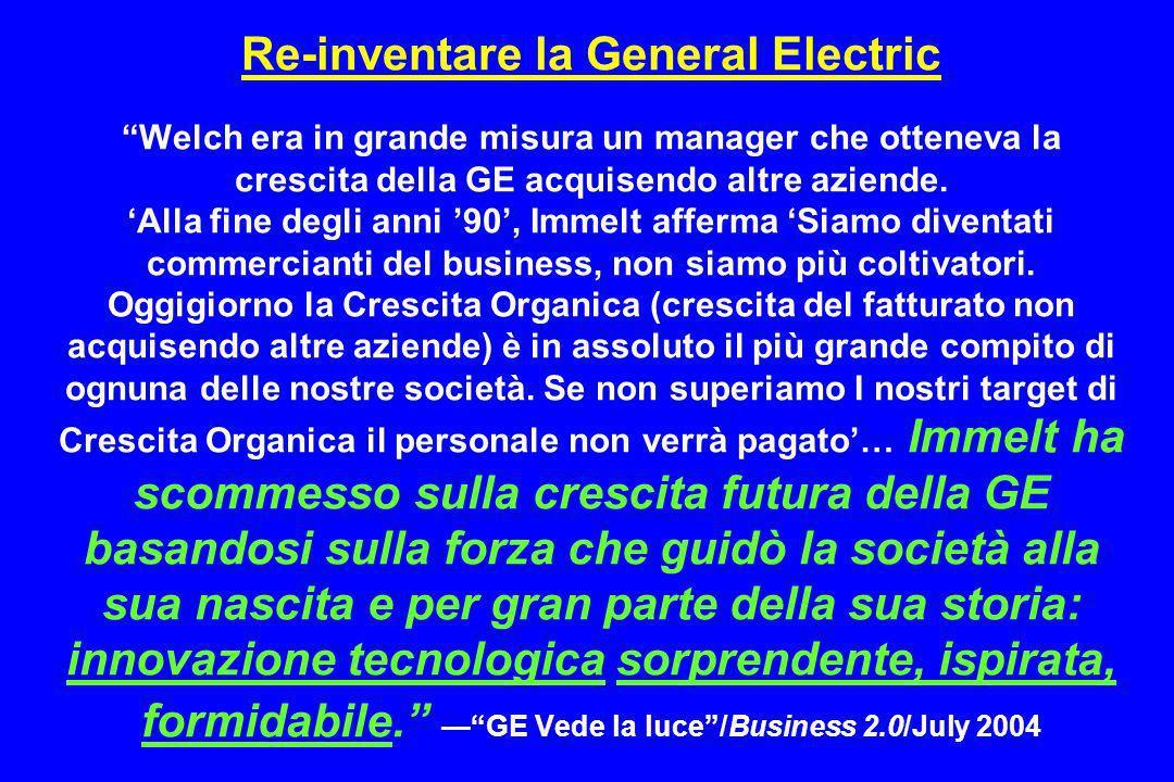 Re-inventare la General Electric Welch era in grande misura un manager che otteneva la crescita della GE acquisendo altre aziende.