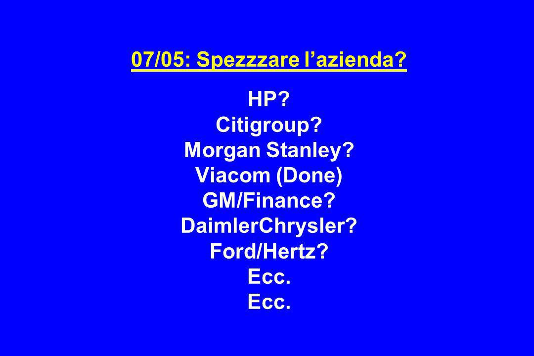 07/05: Spezzzare l'azienda. HP. Citigroup. Morgan Stanley