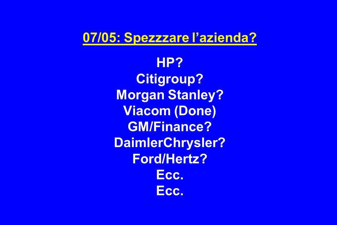 07/05: Spezzzare l'azienda. HP. Citigroup. Morgan Stanley