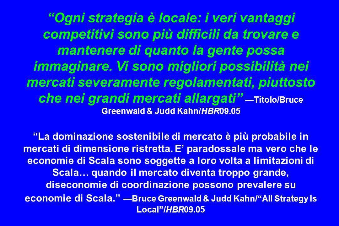 Ogni strategia è locale: i veri vantaggi competitivi sono più difficili da trovare e mantenere di quanto la gente possa immaginare. Vi sono migliori possibilità nei mercati severamente regolamentati, piuttosto che nei grandi mercati allargati —Titolo/Bruce Greenwald & Judd Kahn/HBR09.05