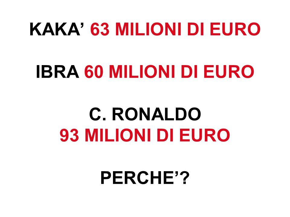 KAKA' 63 MILIONI DI EURO IBRA 60 MILIONI DI EURO C