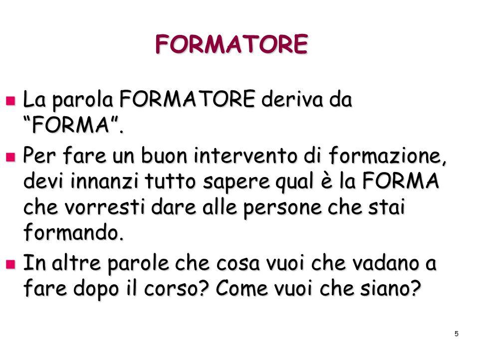 FORMATORE La parola FORMATORE deriva da FORMA .