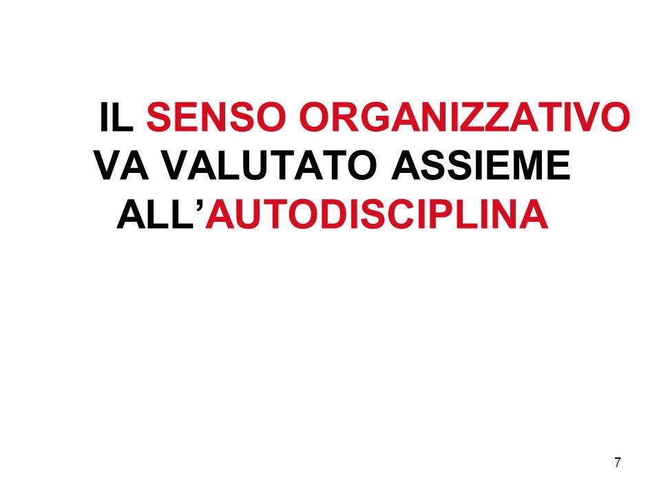 IL SENSO ORGANIZZATIVO VA VALUTATO ASSIEME ALL'AUTODISCIPLINA