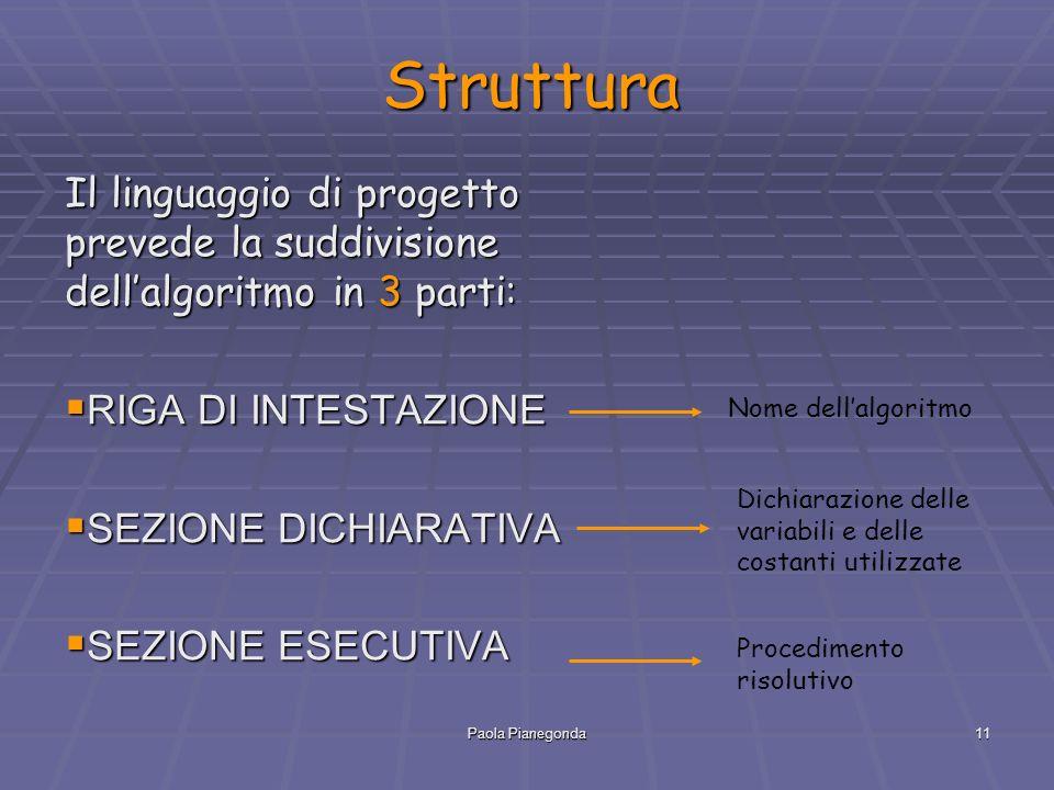 Struttura Il linguaggio di progetto prevede la suddivisione dell'algoritmo in 3 parti: RIGA DI INTESTAZIONE.