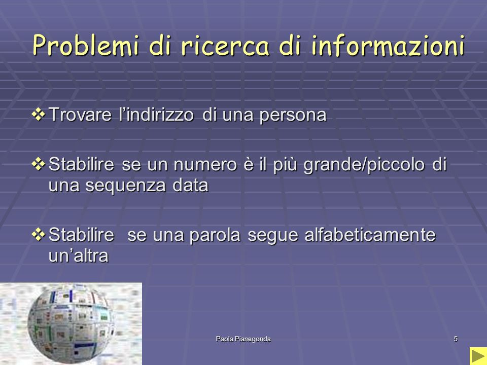 Problemi di ricerca di informazioni