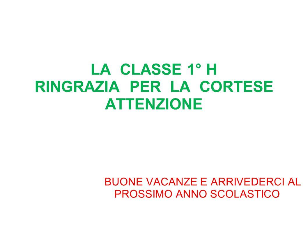 LA CLASSE 1° H RINGRAZIA PER LA CORTESE ATTENZIONE