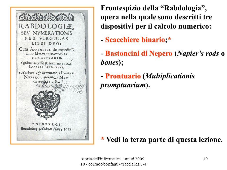 - Scacchiere binario;* - Bastoncini di Nepero (Napier's rods o bones);