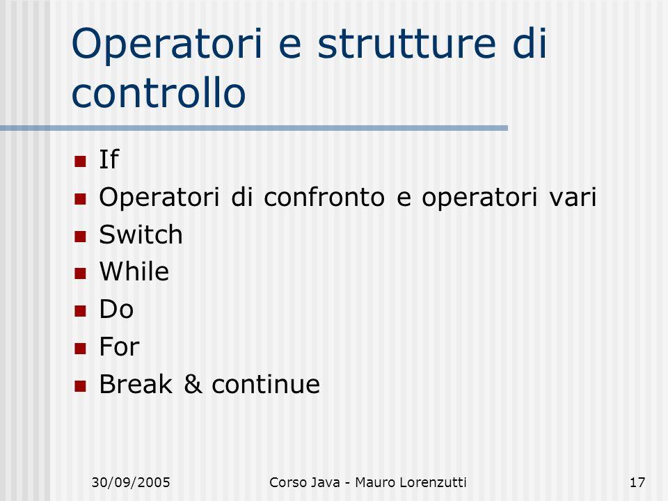 Operatori e strutture di controllo