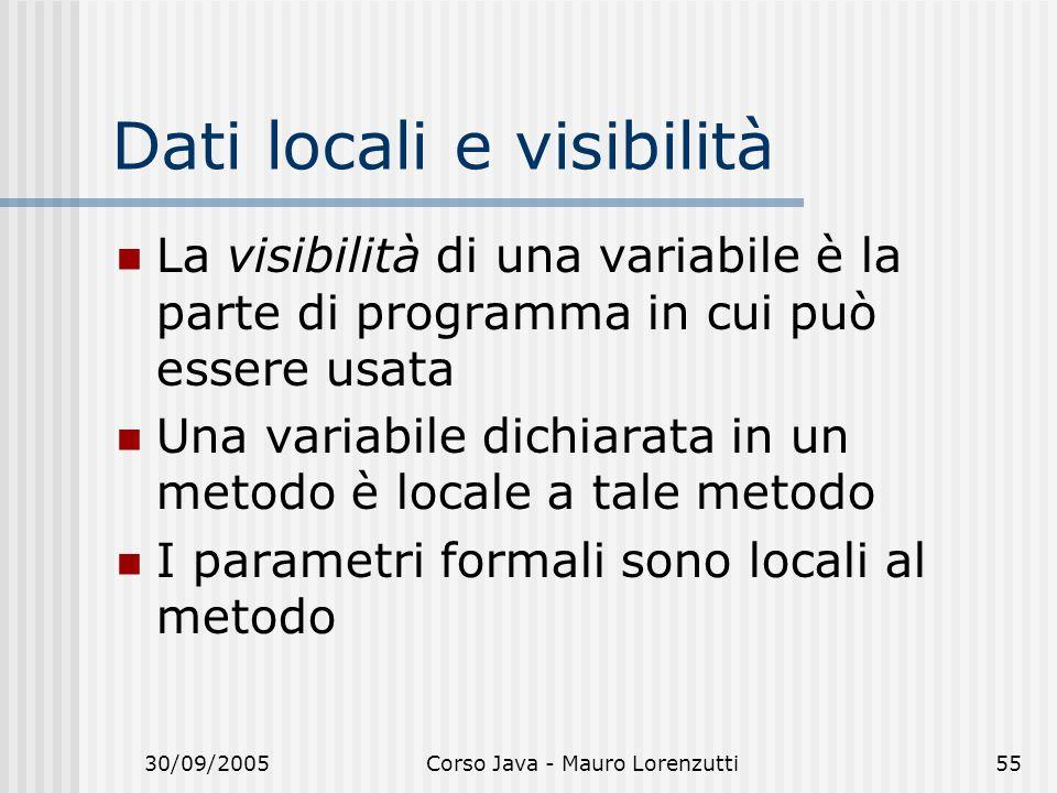 Dati locali e visibilità