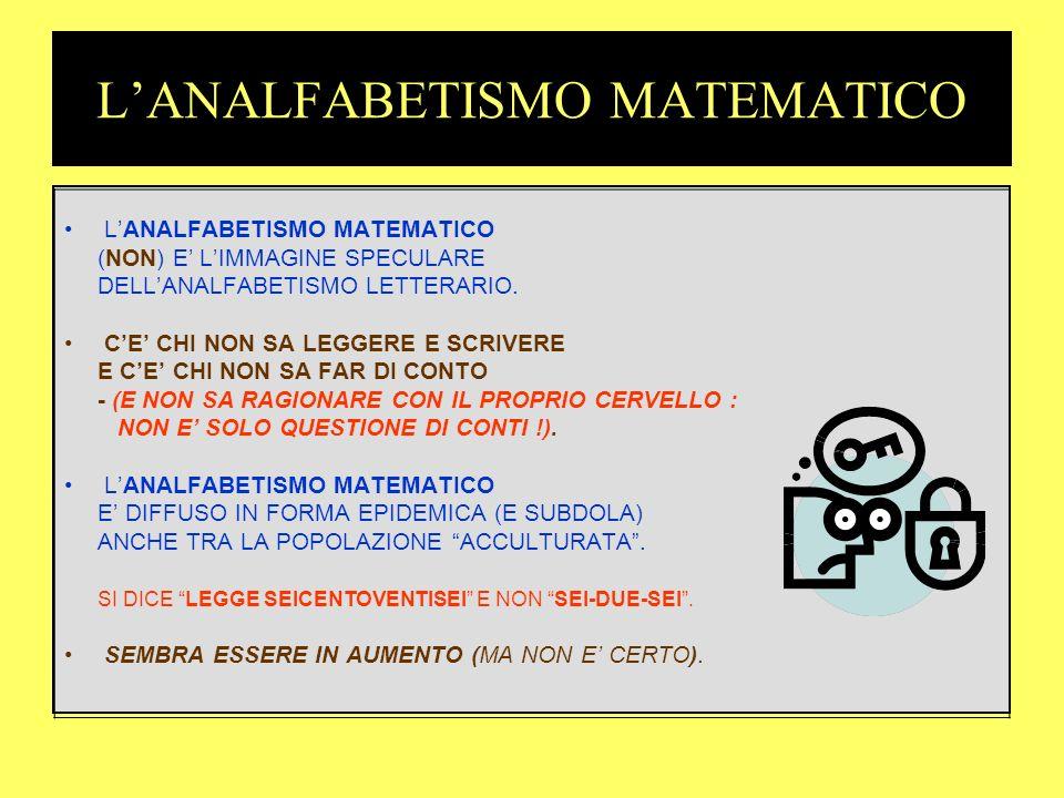 L'ANALFABETISMO MATEMATICO