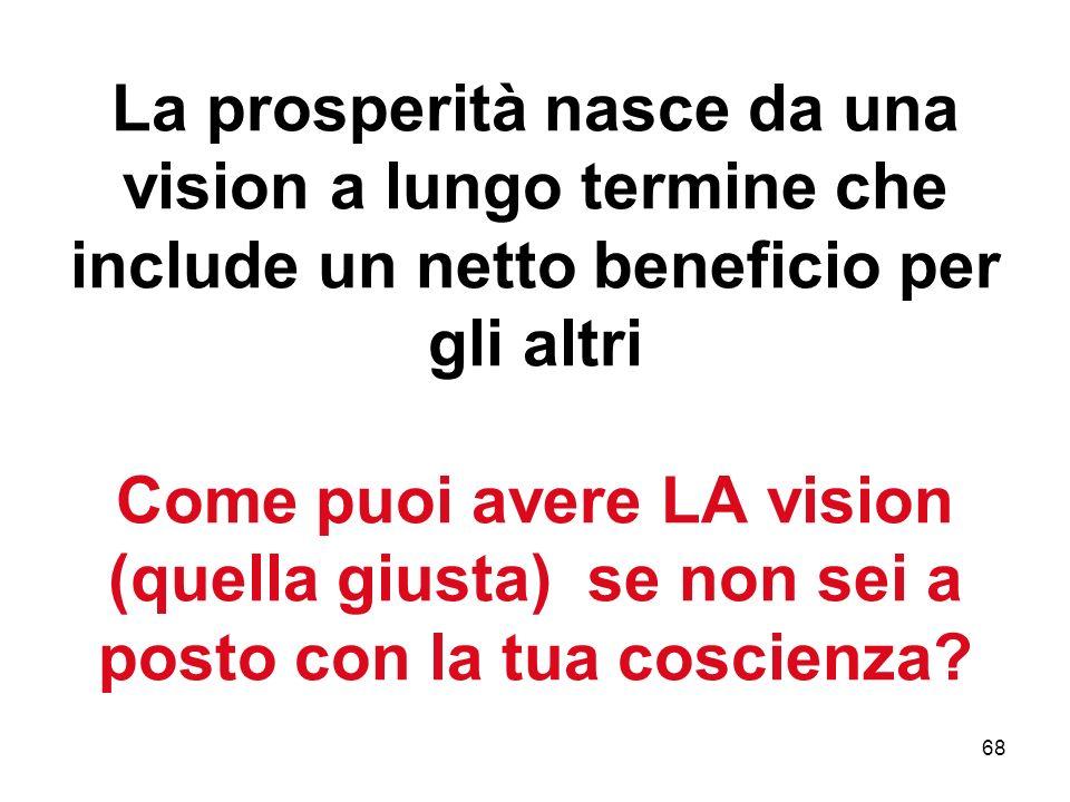 La prosperità nasce da una vision a lungo termine che include un netto beneficio per gli altri Come puoi avere LA vision (quella giusta) se non sei a posto con la tua coscienza