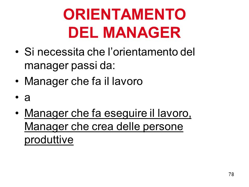 ORIENTAMENTO DEL MANAGER