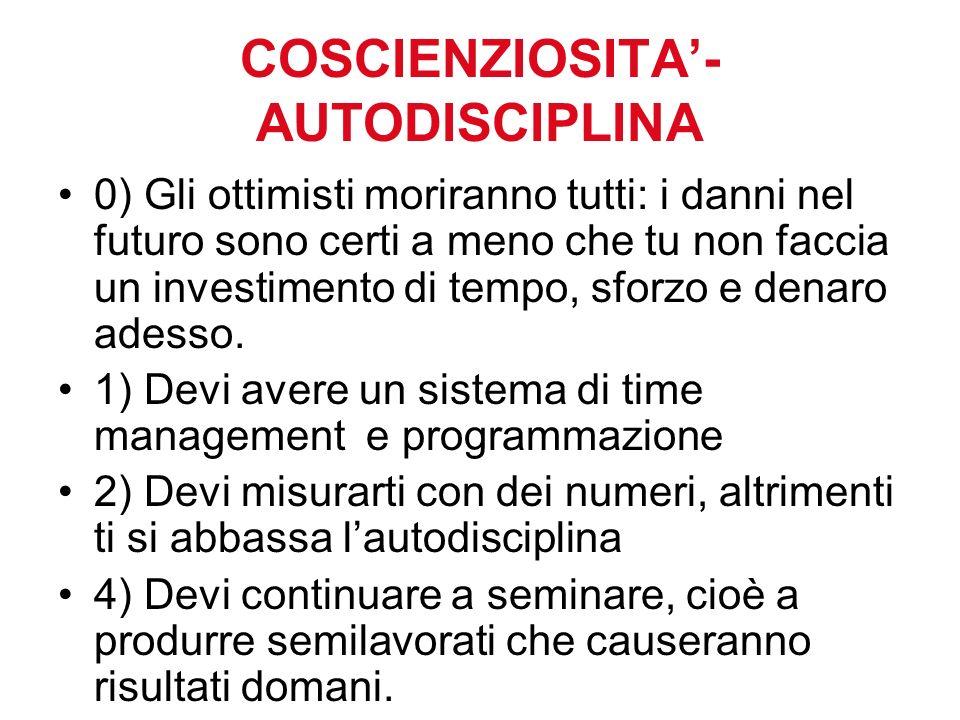COSCIENZIOSITA'-AUTODISCIPLINA