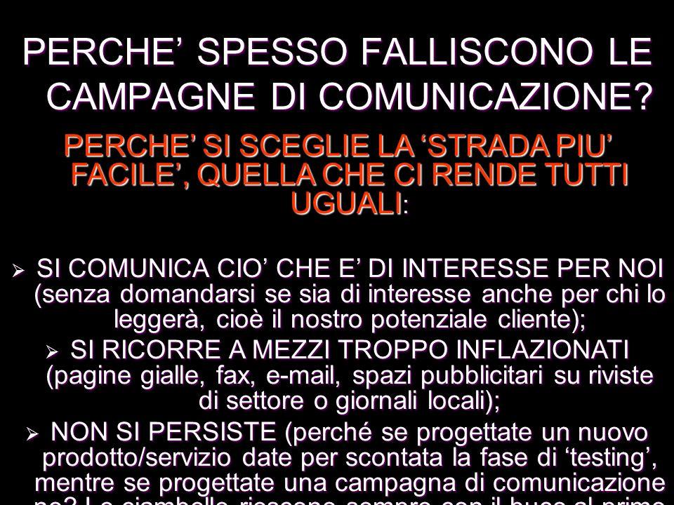 PERCHE' SPESSO FALLISCONO LE CAMPAGNE DI COMUNICAZIONE