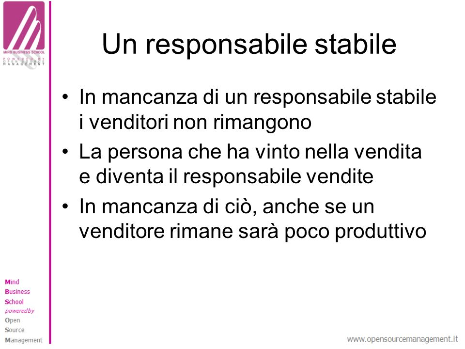 Un responsabile stabile