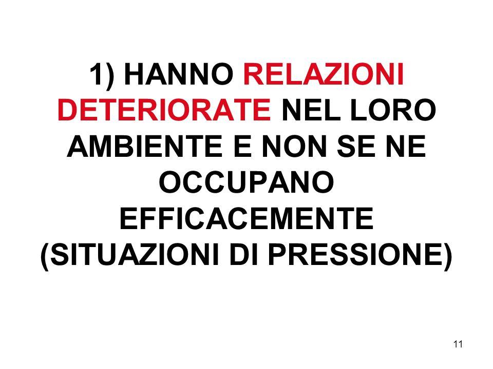 1) HANNO RELAZIONI DETERIORATE NEL LORO AMBIENTE E NON SE NE OCCUPANO EFFICACEMENTE (SITUAZIONI DI PRESSIONE)