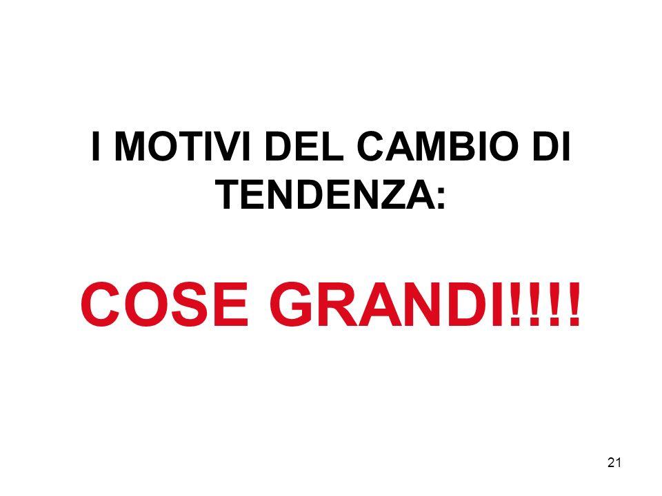 I MOTIVI DEL CAMBIO DI TENDENZA: COSE GRANDI!!!!