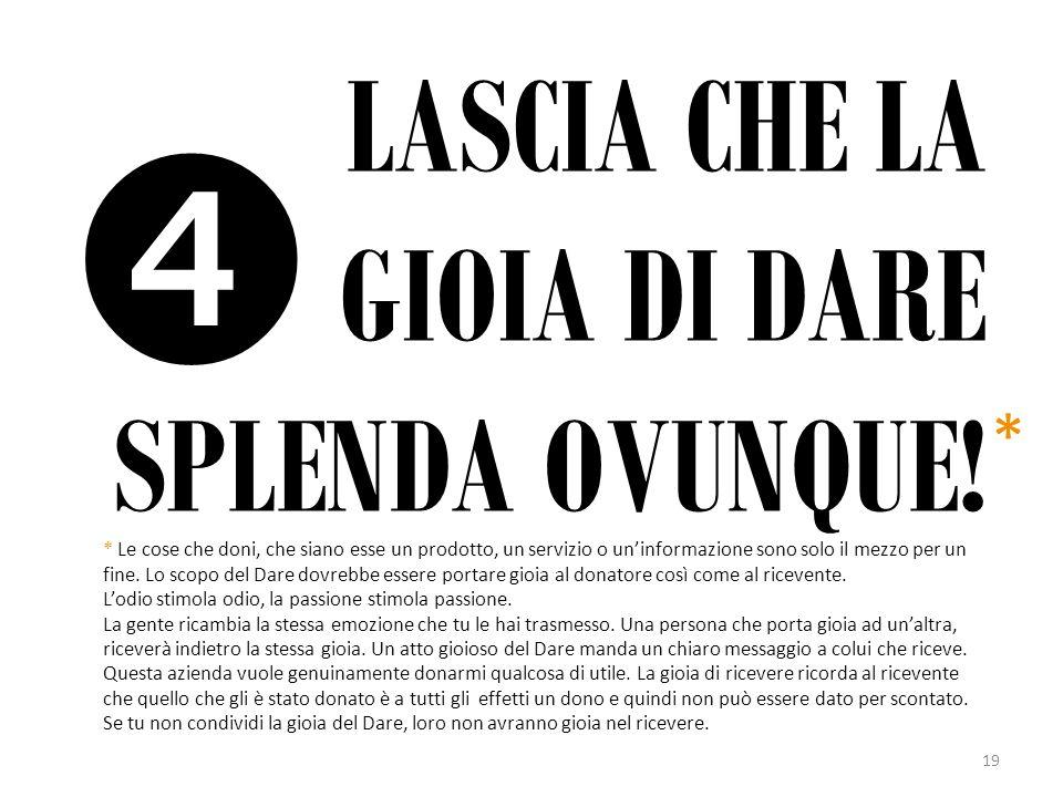 LASCIA CHE LA GIOIA DI DARE SPLENDA OVUNQUE!