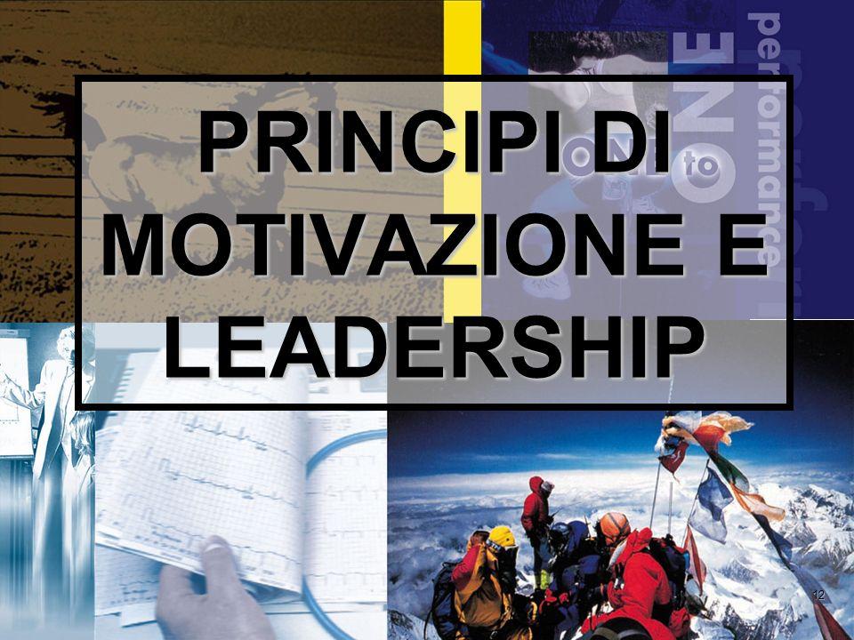 PRINCIPI DI MOTIVAZIONE E LEADERSHIP