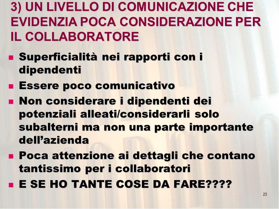 3) UN LIVELLO DI COMUNICAZIONE CHE EVIDENZIA POCA CONSIDERAZIONE PER IL COLLABORATORE