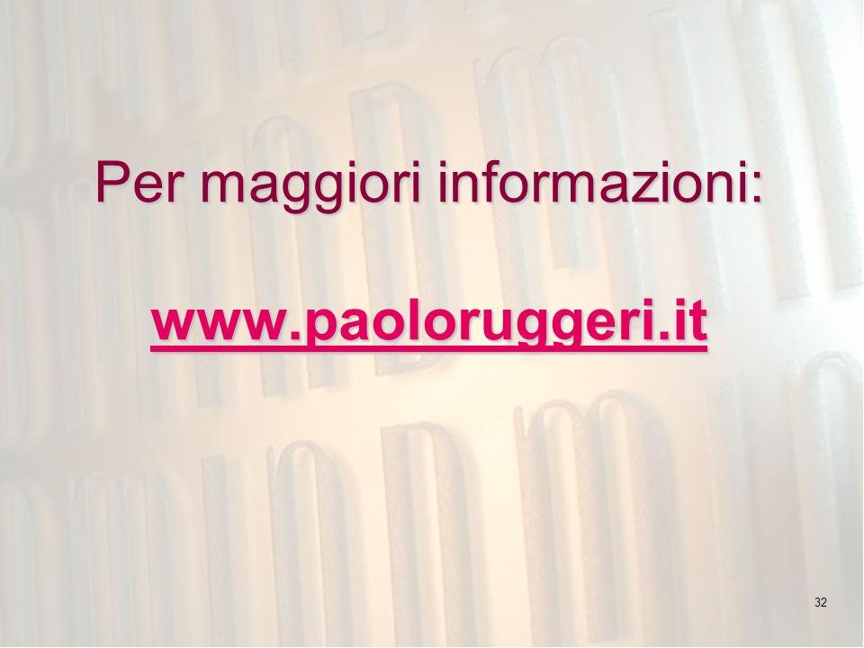 Per maggiori informazioni: www.paoloruggeri.it