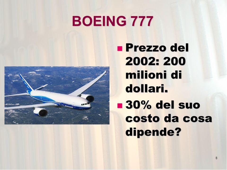 BOEING 777 Prezzo del 2002: 200 milioni di dollari.