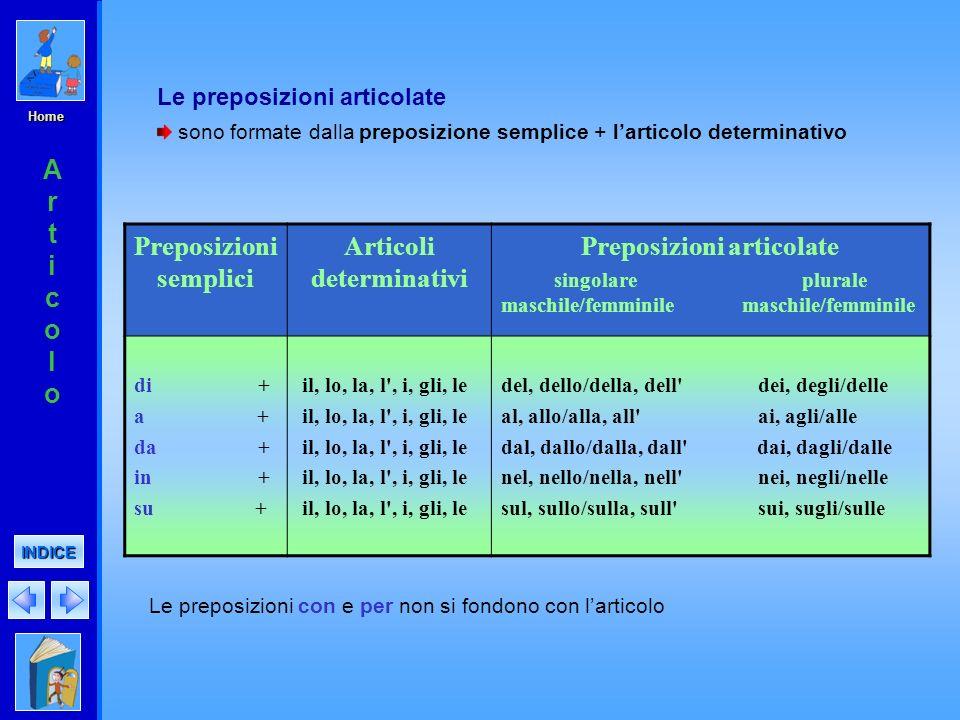 Preposizioni semplici Articoli determinativi Preposizioni articolate