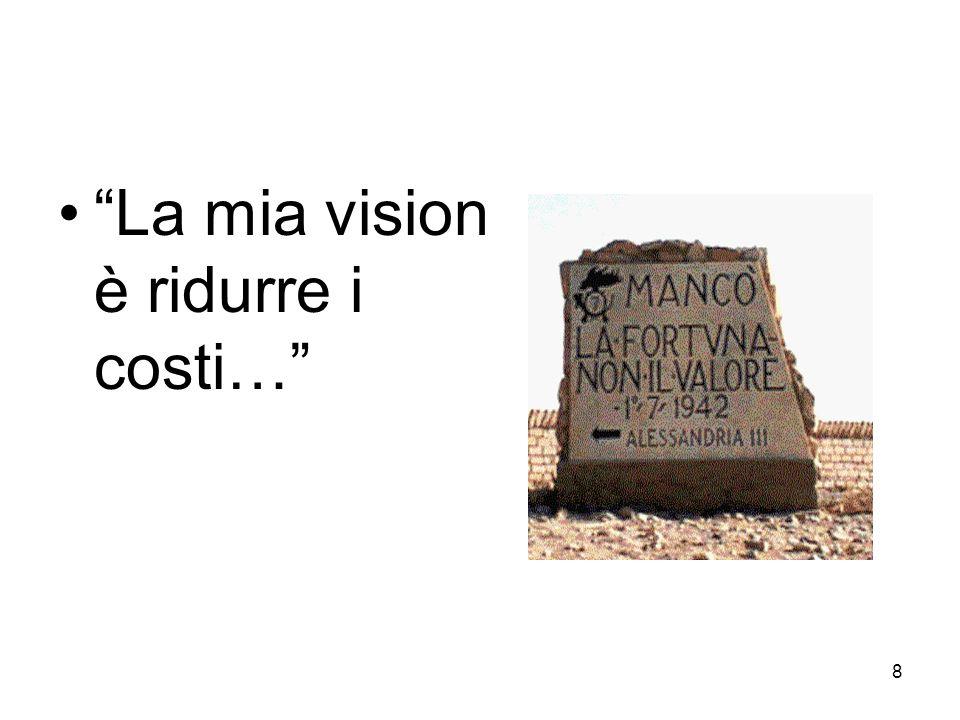 La mia vision è ridurre i costi…
