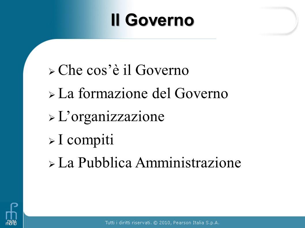 Il Governo Che cos'è il Governo La formazione del Governo