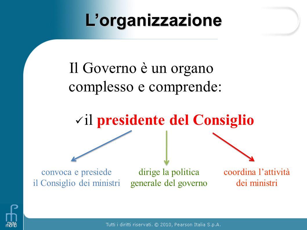L'organizzazione Il Governo è un organo complesso e comprende: