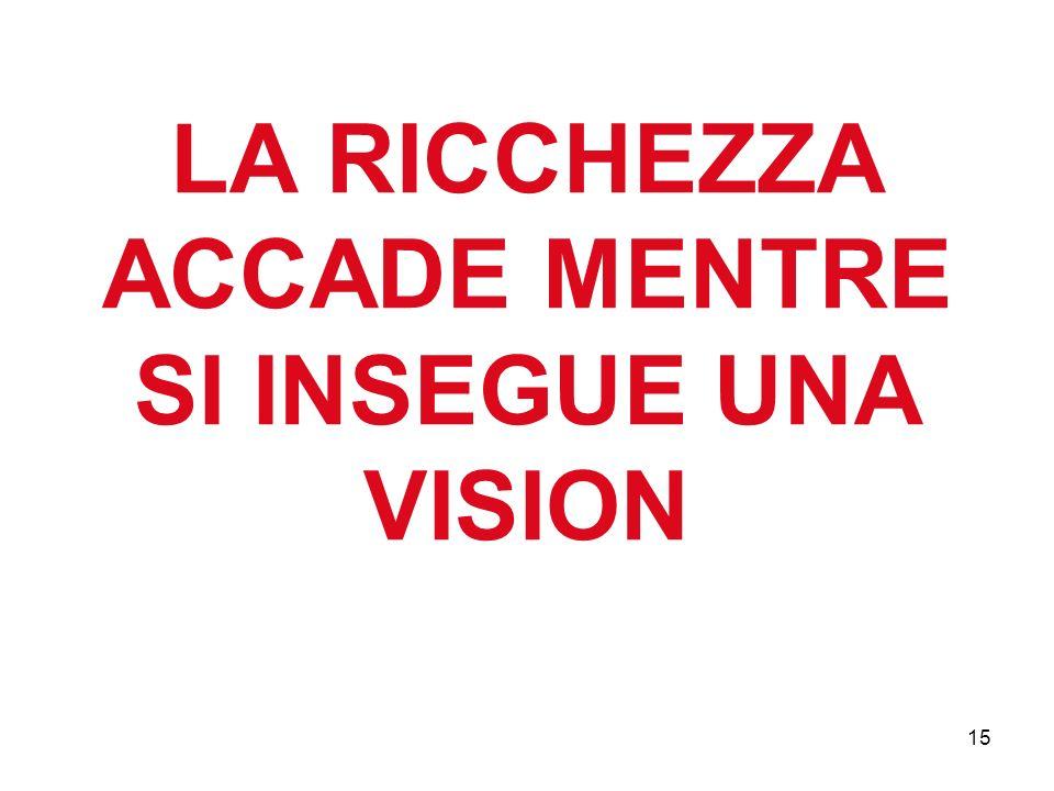LA RICCHEZZA ACCADE MENTRE SI INSEGUE UNA VISION