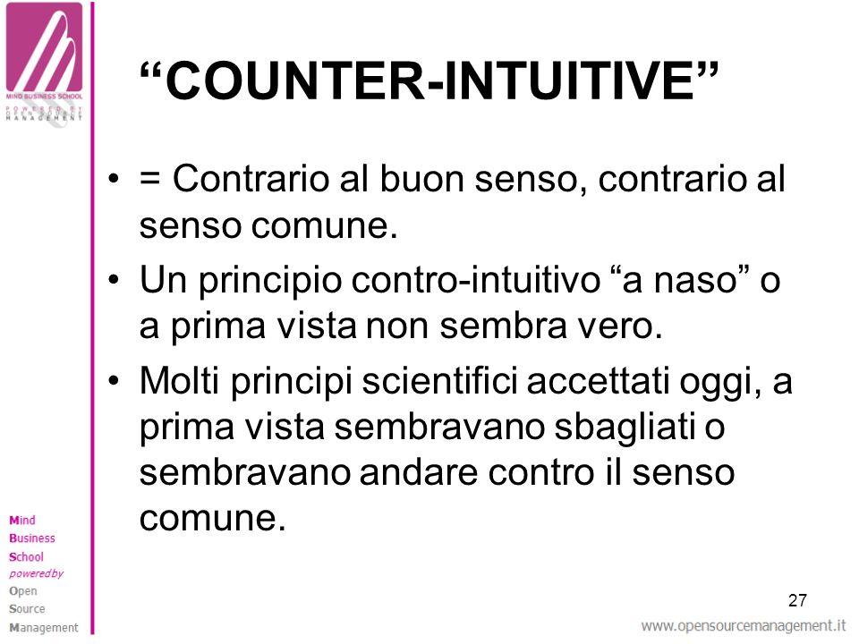 COUNTER-INTUITIVE = Contrario al buon senso, contrario al senso comune. Un principio contro-intuitivo a naso o a prima vista non sembra vero.