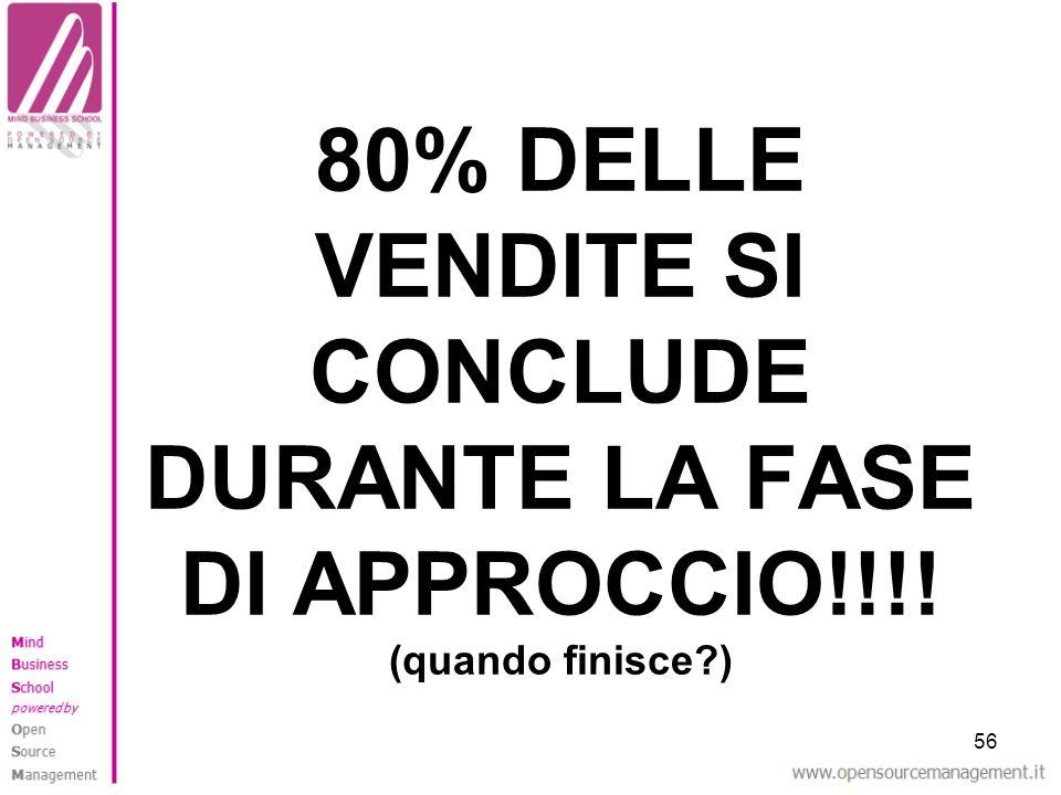 80% DELLE VENDITE SI CONCLUDE DURANTE LA FASE DI APPROCCIO