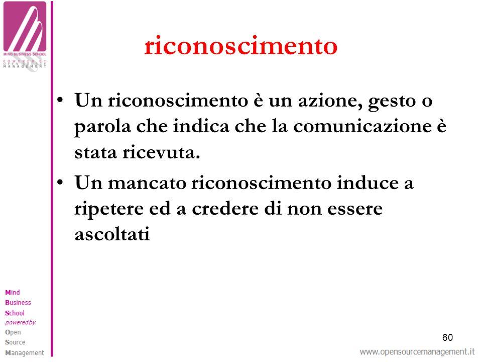 riconoscimento Un riconoscimento è un azione, gesto o parola che indica che la comunicazione è stata ricevuta.