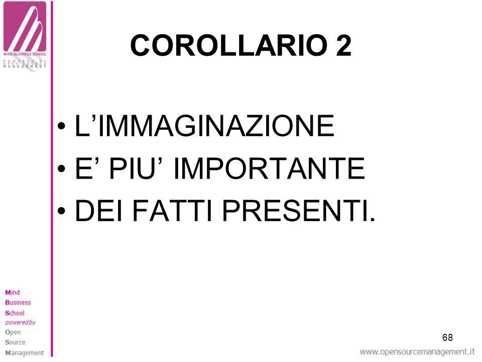 COROLLARIO 2 L'IMMAGINAZIONE E' PIU' IMPORTANTE DEI FATTI PRESENTI. 68