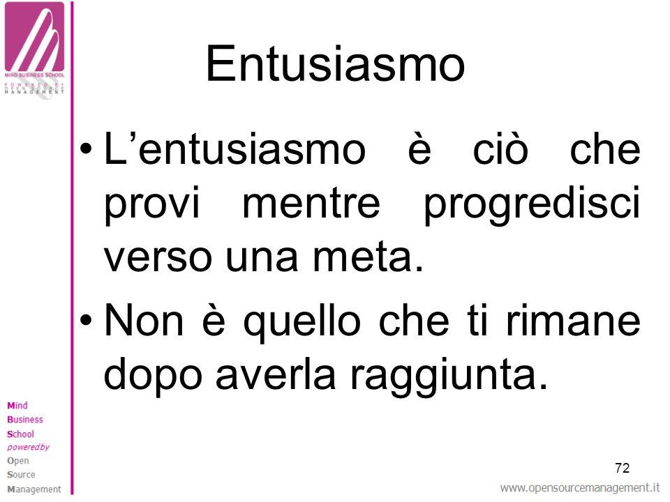 Entusiasmo L'entusiasmo è ciò che provi mentre progredisci verso una meta. Non è quello che ti rimane dopo averla raggiunta.