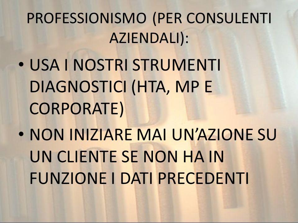 PROFESSIONISMO (PER CONSULENTI AZIENDALI):