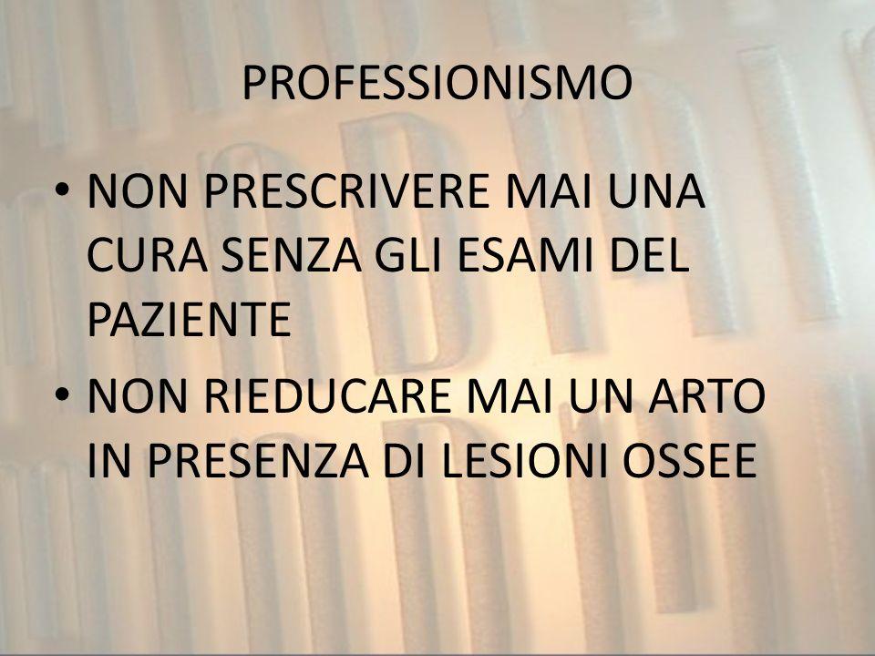 PROFESSIONISMONON PRESCRIVERE MAI UNA CURA SENZA GLI ESAMI DEL PAZIENTE.