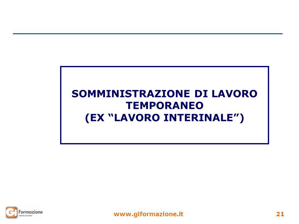 SOMMINISTRAZIONE DI LAVORO TEMPORANEO (EX LAVORO INTERINALE )