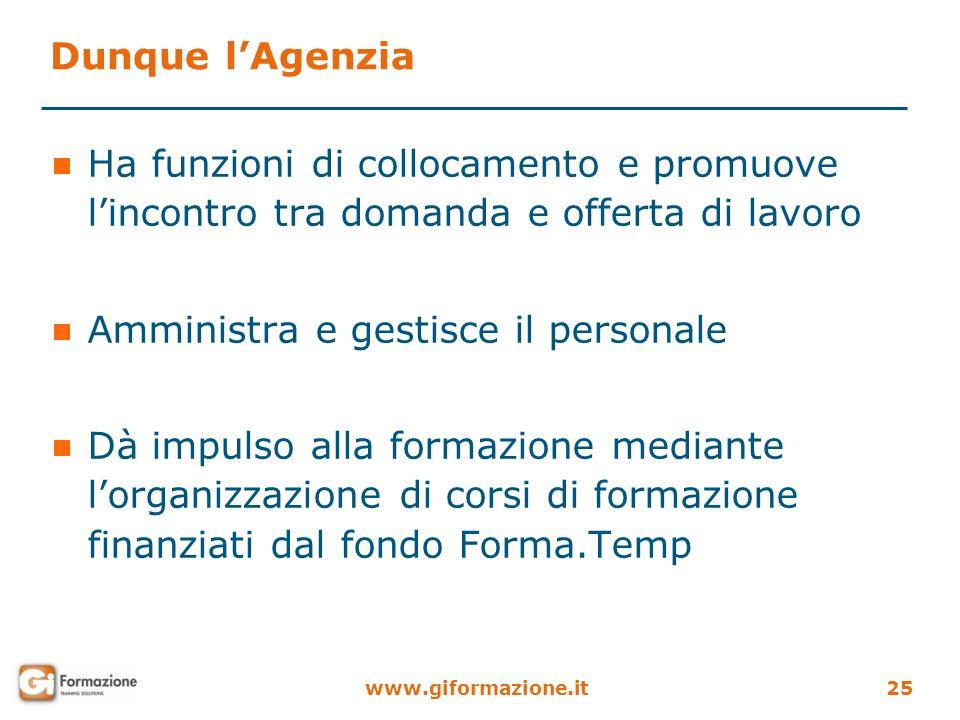 Dunque l'AgenziaHa funzioni di collocamento e promuove l'incontro tra domanda e offerta di lavoro. Amministra e gestisce il personale.