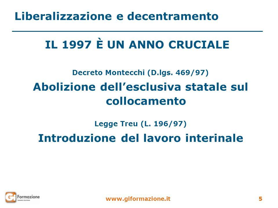 Liberalizzazione e decentramento