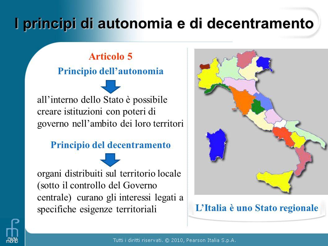 I principi di autonomia e di decentramento