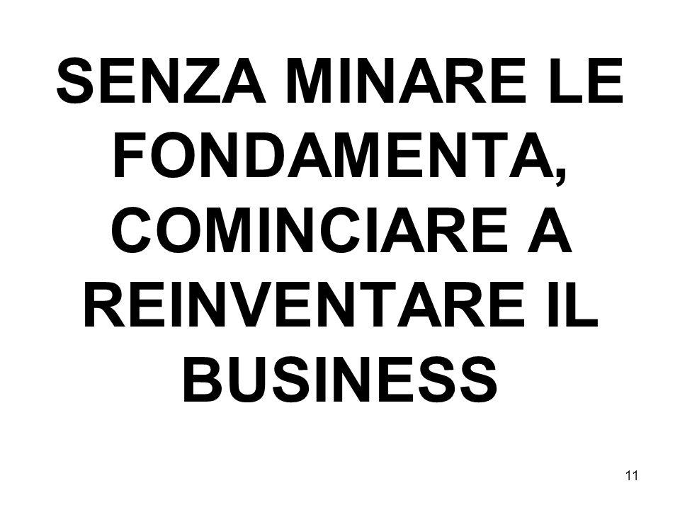 SENZA MINARE LE FONDAMENTA, COMINCIARE A REINVENTARE IL BUSINESS