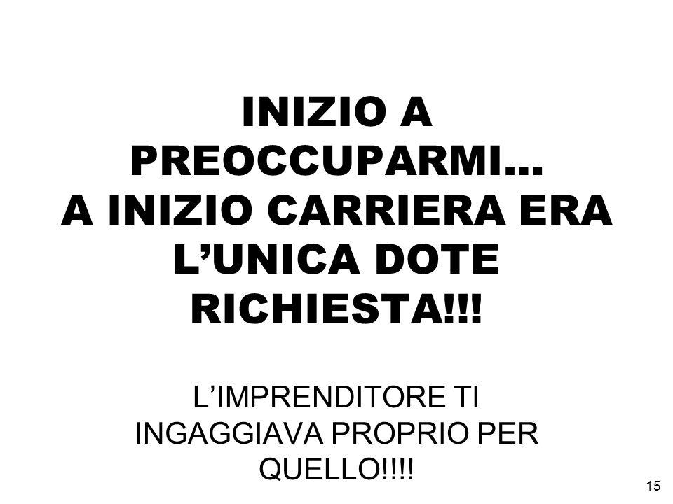 INIZIO A PREOCCUPARMI… A INIZIO CARRIERA ERA L'UNICA DOTE RICHIESTA!!!