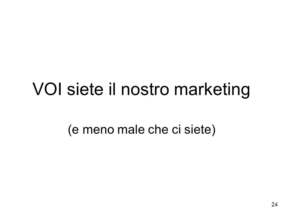 VOI siete il nostro marketing