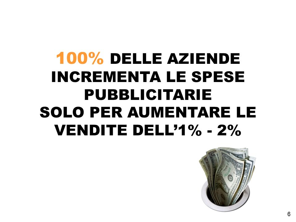 100% DELLE AZIENDE INCREMENTA LE SPESE PUBBLICITARIE