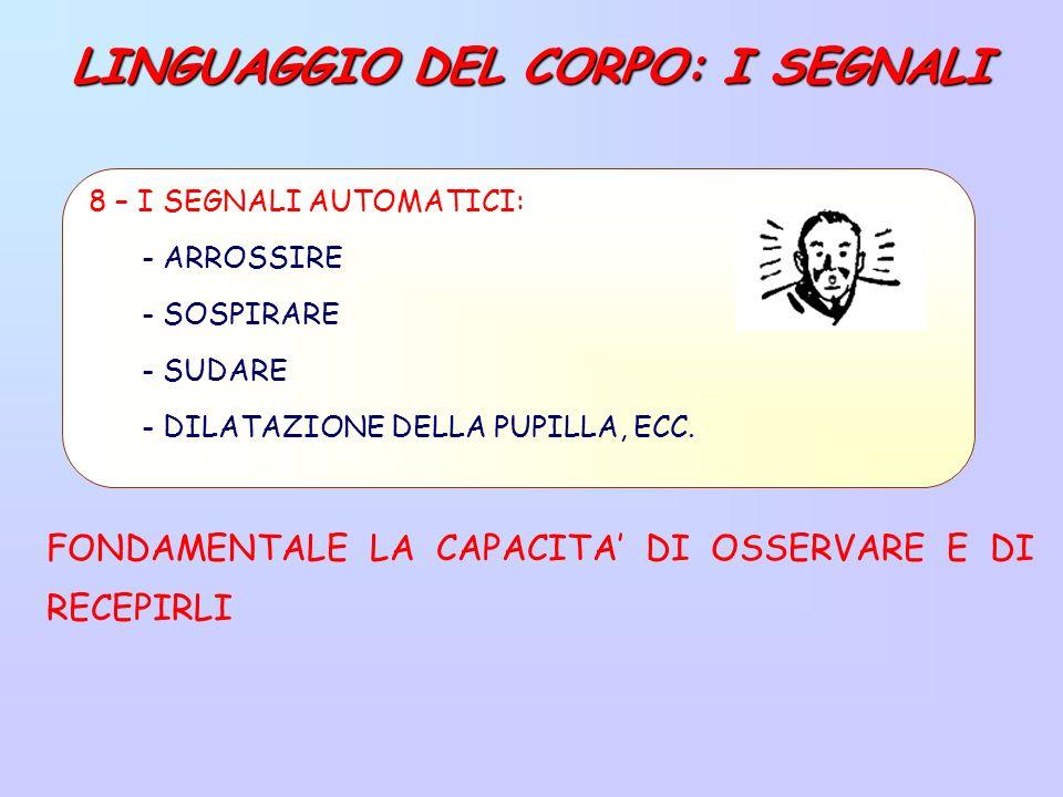 LINGUAGGIO DEL CORPO: I SEGNALI