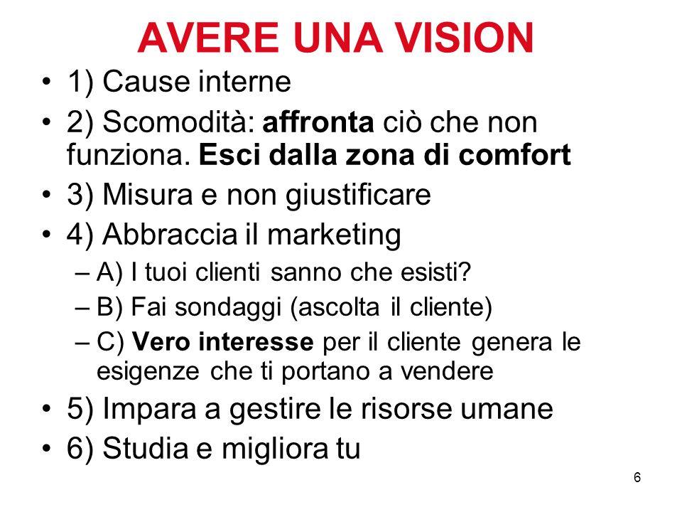 AVERE UNA VISION 1) Cause interne